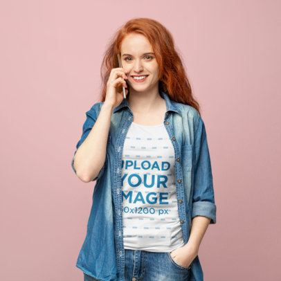 T-Shirt Mockup of a Woman at a Studio Using Her Mobile 39855-r-el2