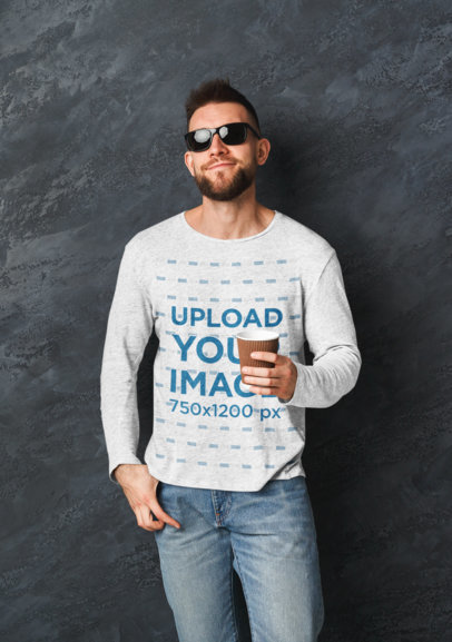 Heathered Long Sleeve Tee Mockup of a Man with Sunglasses 43106-r-el2