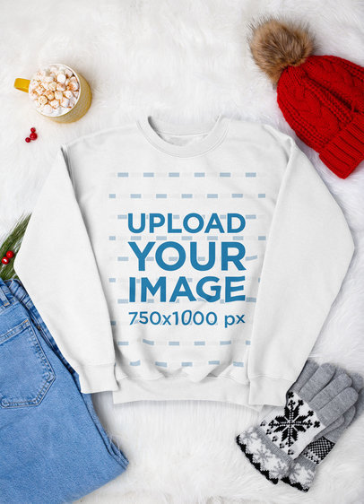 Sweatshirt Mockup Featuring a Winter Outfit m170