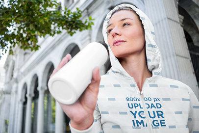 Sublimated Full-Zip Hoodie Mockup of a Woman Drinking Water 41124-r-el2