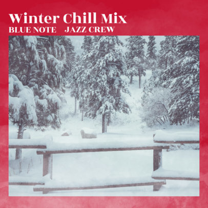 Album Cover Creator for a Jazz Chill Mix Compilation with a Snowy Landscape 3062c