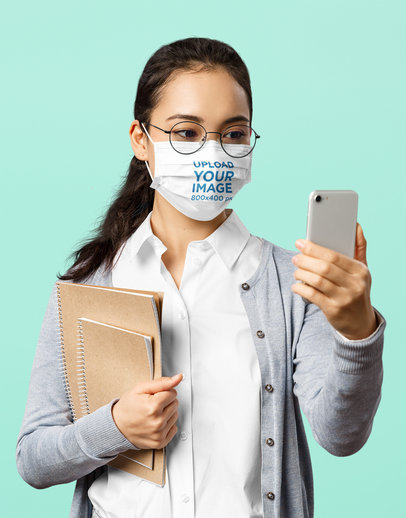 Face Mask Mockup of a Student Doing a Video Call 43948-r-el2