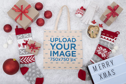Tote Bag Mockup Featuring Christmas Decorations m42