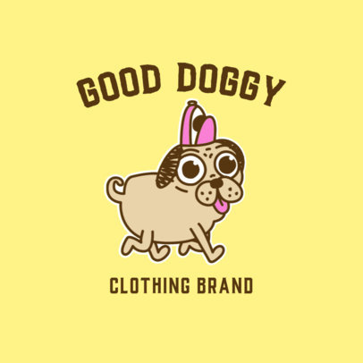 Logo Template for a Dog Clothing Brand Featuring a Funny Pug Graphic 3776a
