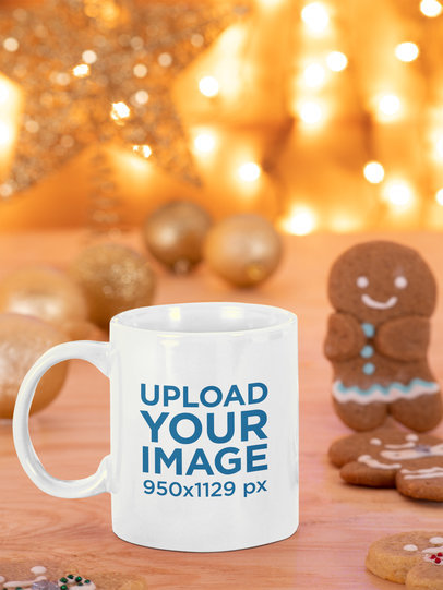 11 oz Coffee Mug Mockup Featuring a Gingerbread Man and Christmas Ornaments m49