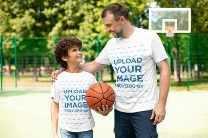 T-Shirt Mockup Featuring a Dad and His Son at a Basketball Court 43679-r-el2