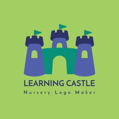 Logo Maker for a Nursery School with a Castle Illustration 3764a