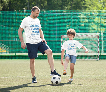Mockup of a Kid Playing Soccer With His Dad 43873-r-el2