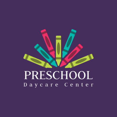 Logo Template for a Daycare Center Featuring Colorful Crayon Graphics 3764g