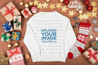 Mockup of a Crewneck Sweatshirt Surrounded by Christmas Presents m31