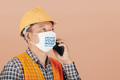 Face Mask Mockup Featuring a Man With a Construction Helmet at a Studio 44171-r-el2