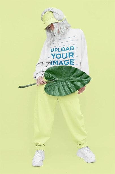 Mockup of a Woman Wearing a Sweatshirt in a Monochromatic Setting 43670-r-el2