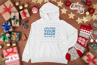 Pullover Hoodie Mockup Featuring X-mas Presents and Decorations m32