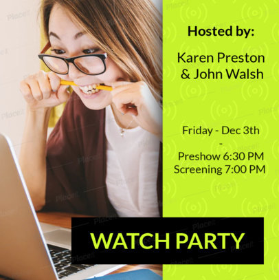 Instagram Post Design Template for a Watch Party Announcement 3095