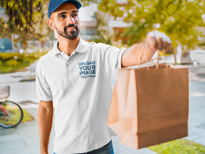 Polo Shirt Mockup of a Man Delivering Food 44192-r-el2