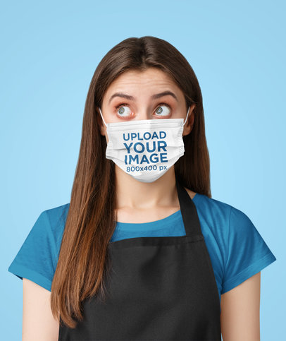 Mockup of a Young Waitress Wearing a Face Mask in a Studio 43974-r-el2