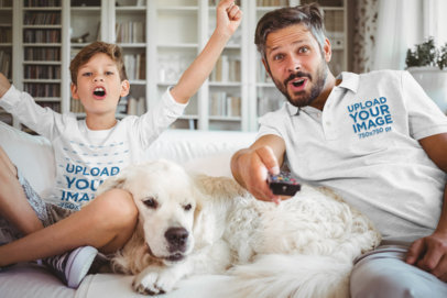 Long Sleeve Tee and Polo Shirt Mockup of Father and Son with Their Dog 43923-r-el2