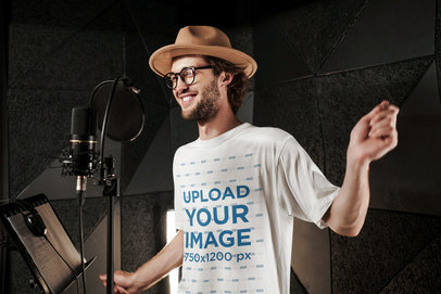 T-Shirt Mockup of a Hipster Man Singing at a Studio 39770-r-el2