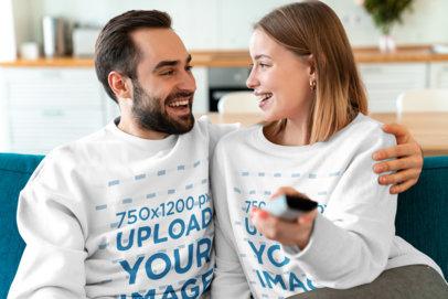 Mockup of a Couple Wearing Sweatshirts at Home 43814-r-el2