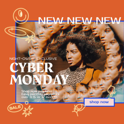 Ad Banner Template for Clothing Brands Promoting Cyber Monday Sales 3101