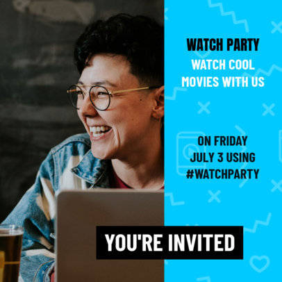 Instagram Post Design Maker for a Movie Watch Party 3095e