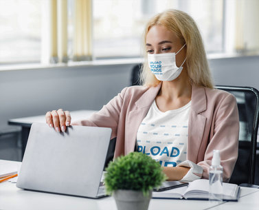 Face Mask Mockup Featuring a Woman Wearing a Customizable T-Shirt at an Office 44219-r-el2