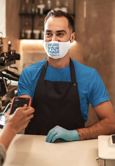Mockup of a Happy Barista Wearing a Heathered Face Mask 44075-r-el2