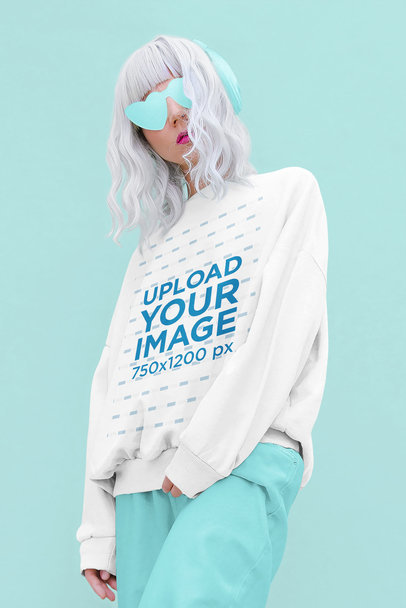 Mockup of a Woman With Silver Hair Wearing a Customizable Sweatshirt at a Studio 40237-r-el2