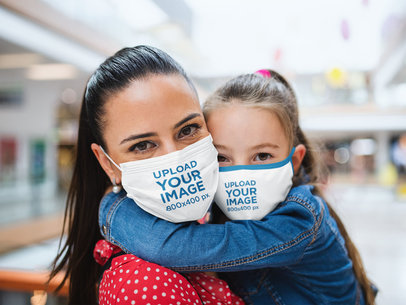 Face Mask Mockup of a Little Girl Hugging Her Mom 44608-r-el2