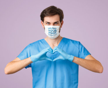 Face Mask Mockup of a Health Professional Doing a Love Sign 43986-r-el2