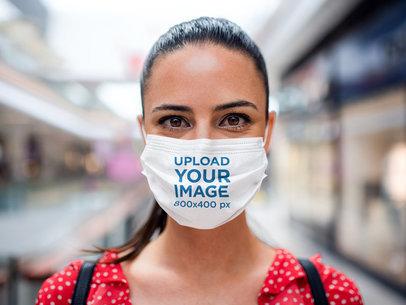 Closeup Mockup of a Woman Wearing a Face Mask at a Mall 44613-r-el2