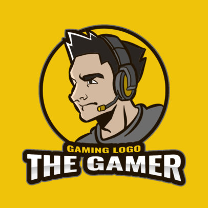 Online Gaming Logo Creator Featuring an Illustration of a Gamer with a Headset 3118a-el1