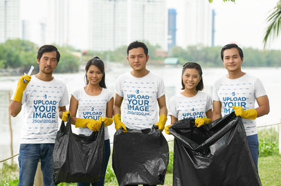 T-Shirt Mockup Featuring a Group of Five Cleaning a Public Space 43264-r-el2
