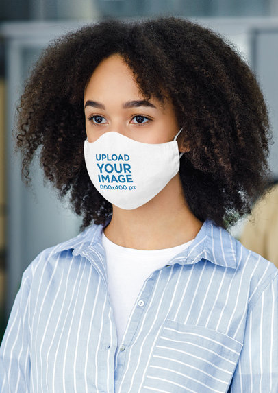 Sublimated Face Mask Mockup Featuring a Young Curly-Haired Woman 44063-r-el2