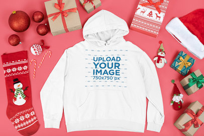 Hoodie Mockup Featuring Christmas Decorations and Presents m17