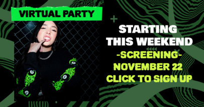 Facebook Post Design Template to Announce a Virtual Party 3096d