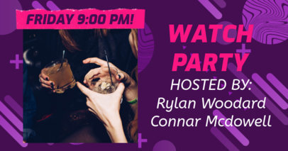Trendy Facebook Post Template to Announce a Virtual Watch Party 3096f