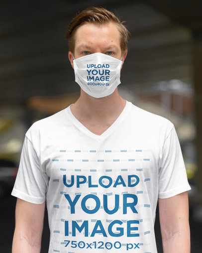 Mockup of a Man in a Plain Pose Wearing a Face Mask and a T-Shirt 44374-r-el2