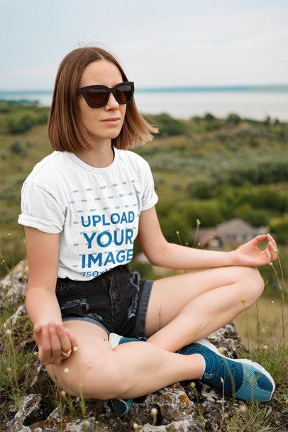 T-Shirt Mockup of a Woman Meditating After a Hike 42952-r-el2
