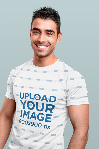 Mockup of a Smiling Fit Man Wearing a Sublimated T-Shirt 40919-r-el2