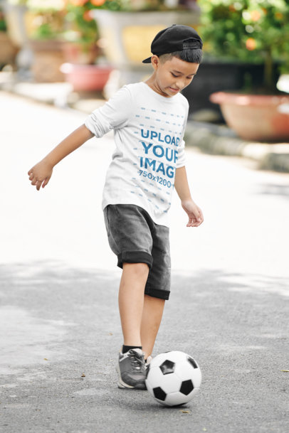 Long Sleeve Tee Mockup of a Boy Playing with a Soccer Ball 43261-r-el2