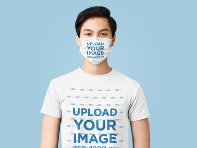 Face Mask Mockup of a Serious Man Wearing a Customizable Crew Neck T-Shirt 41096-r-el2