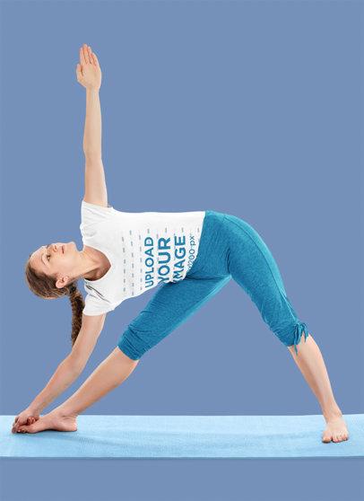 V-Neck T-Shirt Mockup of a Woman Doing a Yoga Pose in a Studio 44512-r-el2