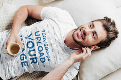 V-Neck Tee Mockup Featuring a Man Lying on a Bed Listening to Music 43896-r-el2