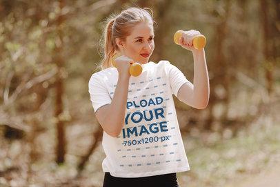 T-Shirt Mockup of a Teenage Girl Exercising Outside 41369-r-el2
