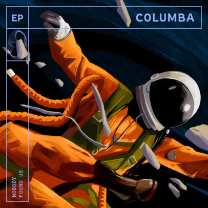 Album Cover Design Template with Illustrations of Astronauts 3805
