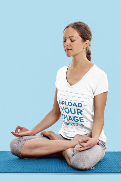 V-Neck T-Shirt Mockup of a Woman Meditating in a Yoga Pose 44513-r-el2