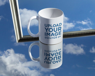 Mockup of an 11 oz Coffee Mug Placed over a Reflective Surface m587