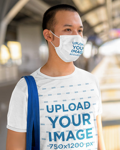 Face Mask Mockup Featuring a Serious Man Wearing a Customizable T-Shirt 44462-r-el2