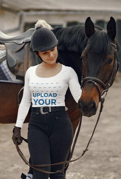 Long-Sleeve Tee Mockup Featuring a Professional Horseback Rider 44162-r-el2